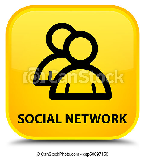Social network (group icon) special yellow square button - csp50697150