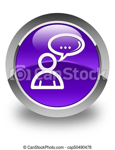 Social network icon glossy purple round button - csp50490478