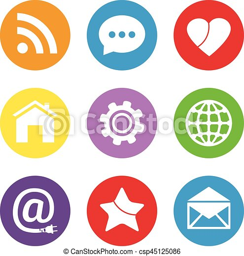 Social Network Icon Set Media Network Symbols In Flat Design Style