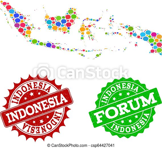 social network map of indonesia with chat clouds and scratched stamps social network map of indonesia and grunge stamp seals can stock photo