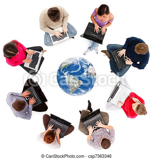 Social network members seen from above - csp7363346