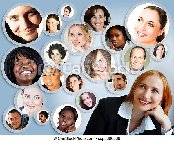 social network of businesswoman. - csp5896686