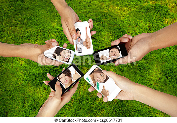 social network on the smart phone of young group - csp6517781