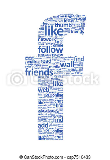 social network words . illustration of the letter f, which is