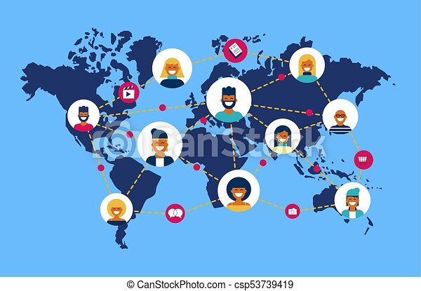 Social network world map people team connection social vector social network world map people team connection csp53739419 gumiabroncs Image collections