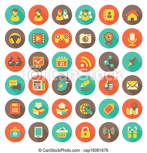 Social Networking Flat Round Icons  - csp16081676