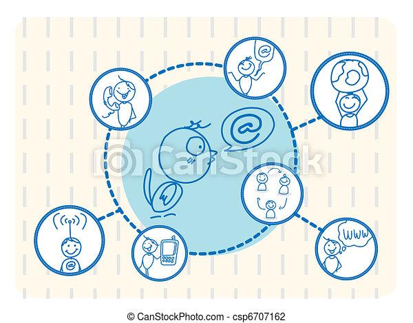 social, pássaro, rede - csp6707162
