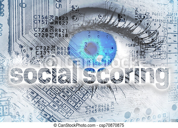 Social scoring concept background with eye - csp70870875
