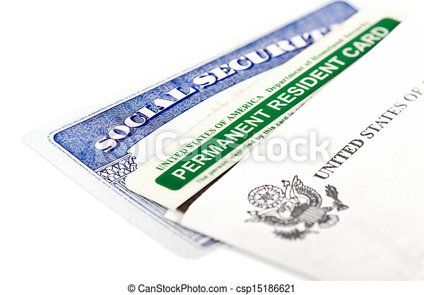 Social security and green card - csp15186621