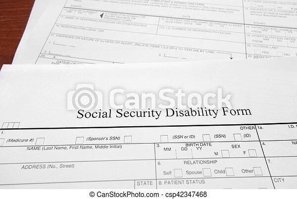 Social Security Disability Form Stock Image  Search Photos And