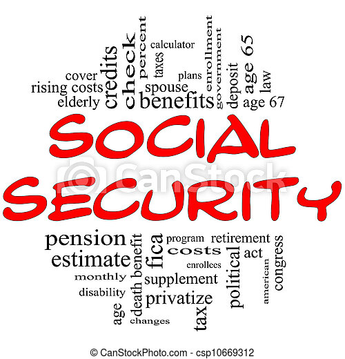 Social Security Word Cloud Concept in red & black - csp10669312