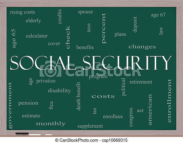 Social Security Word Cloud Concept on a Blackboard - csp10669315