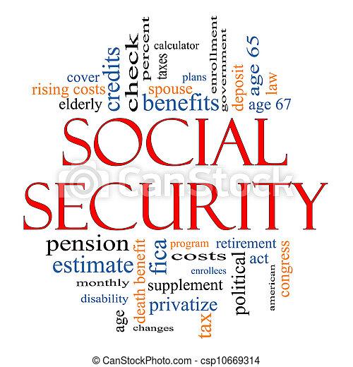 Social Security Word Cloud Concept - csp10669314