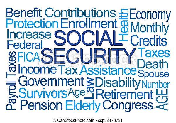 Social Security Word Cloud - csp32478731