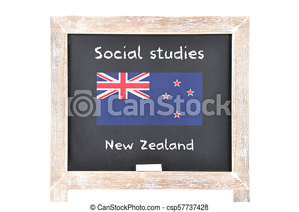 Social studies with flag on board - csp57737428