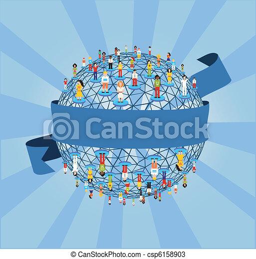 Social web networking world diagram