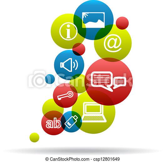 sociale, fondo, icone - csp12801649