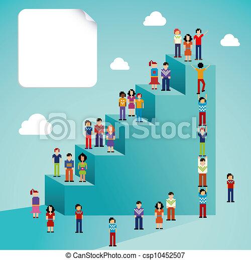sociale, globale, crescita, rete, persone - csp10452507