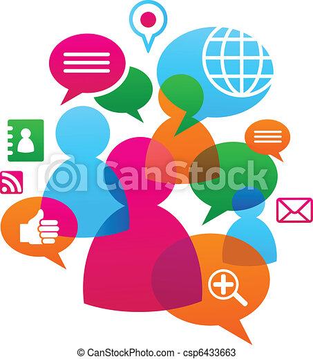 sociale, media, backgound, rete, icone - csp6433663