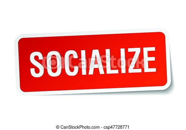 socialize square sticker on white - csp47728771