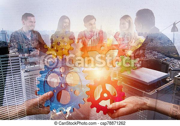 sociedad, pedazos, empresa / negocio, gears., equipo, conectar, concepto, trabajo en equipo, integración - csp78871262