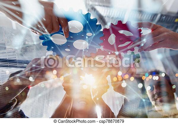 sociedad, pedazos, empresa / negocio, gears., equipo, conectar, concepto, trabajo en equipo, integración - csp78870879
