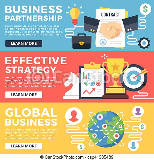 Socio de negocios, estrategia efectiva, conceptos de ilustración global de negocios. Diseño plano gráfico para telarañas, sitios web, materiales impresos, infográficos. Ilustraciones de vectores modernas - csp41385489