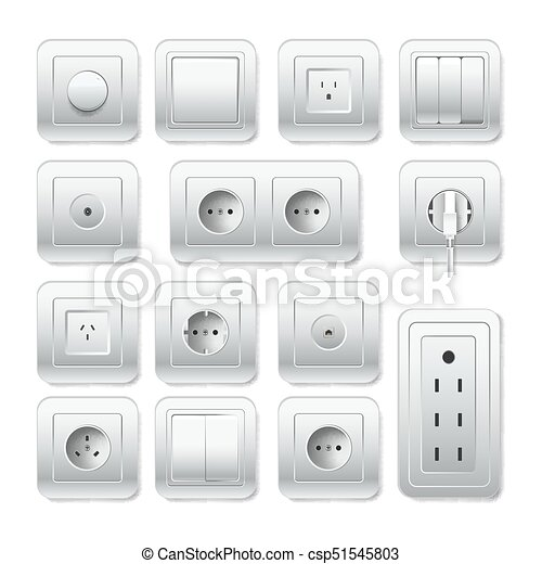 Light Switch Types >> Socket Electirc Outlet Light Switch And Cable Inlet Vector 3d Icons