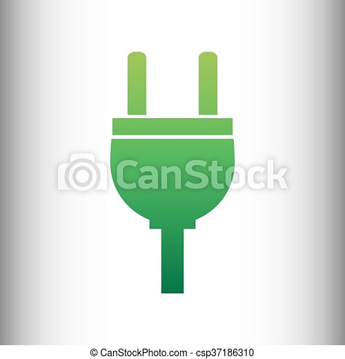 Socket sign. Green gradient icon - csp37186310
