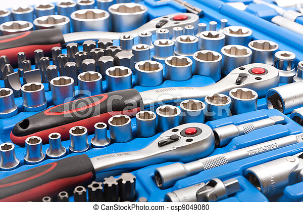 Socket wrench toolbox isolated on white background - csp9049080