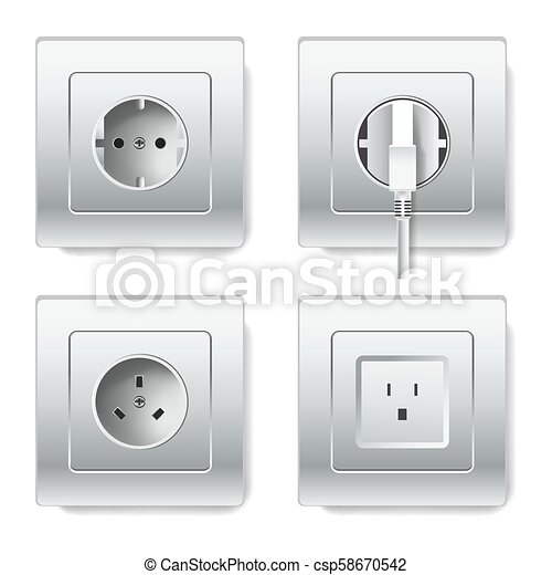 Sockets And Electric Plugs Vector 3d Cions Sockets And Electric