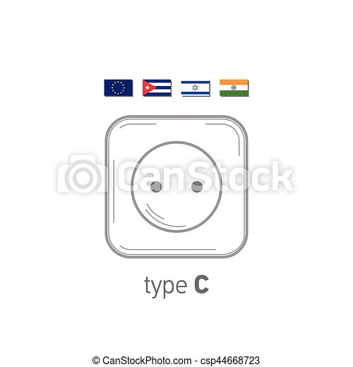 Sockets icon. Type C. AC power sockets realistic illustration. Different type power socket set, vector isolated icon illustration for different country plugs. - csp44668723