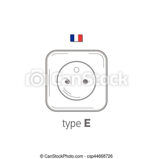 Sockets icon. Type E. AC power sockets realistic illustration. Different type power socket set, vector isolated icon illustration for different country plugs. - csp44668726