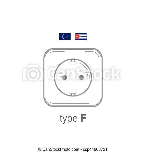 Sockets icon. Type F. AC power sockets realistic illustration. Different type power socket set, vector isolated icon illustration for different country plugs. - csp44668721