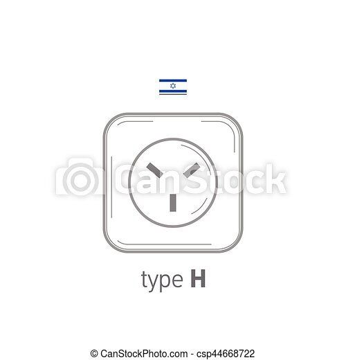 Sockets icon. Type H. AC power sockets realistic illustration. Different type power socket set, vector isolated icon illustration for different country plugs. - csp44668722