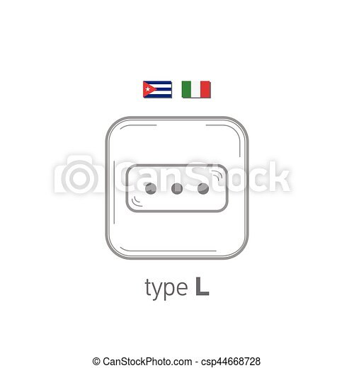 Sockets icon. Type L. AC power sockets realistic illustration. Different type power socket set, vector isolated icon illustration for different country plugs. - csp44668728
