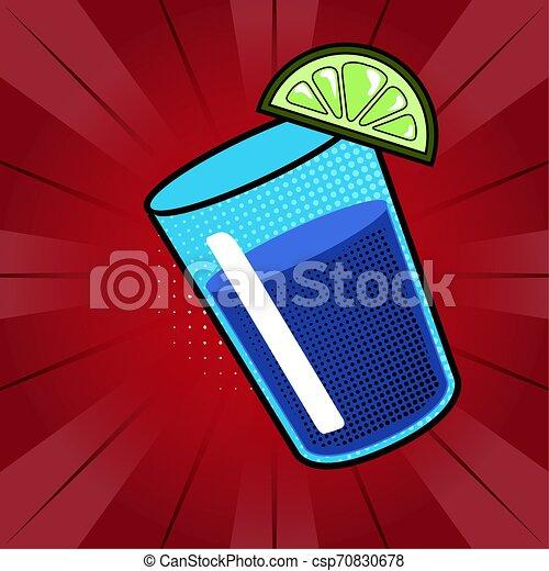 Soda drink with a lemon. Pop art style - csp70830678