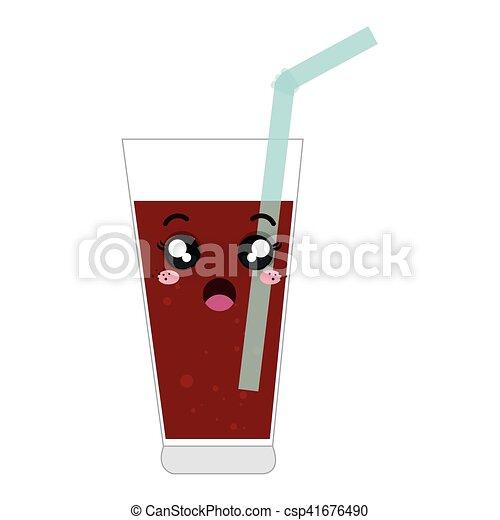 soda glass kawaii style - csp41676490
