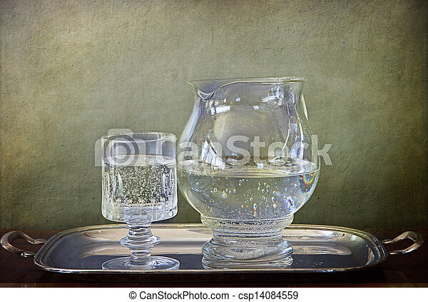 Soda Water jug and glass on silver tray - csp14084559