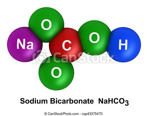 sodium bicarbonate 3d render of molecular structure of sodium