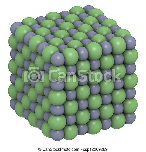 Sodium chloride (NaCl, table salt), crystal structure - csp12269269