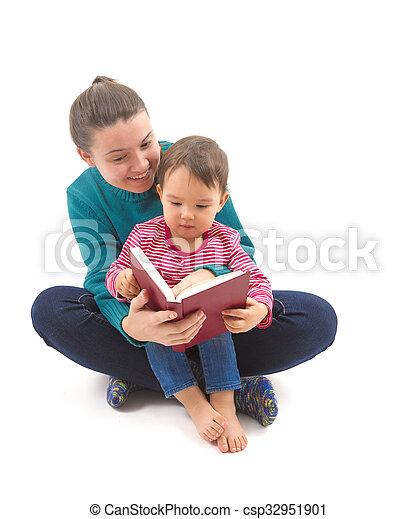 soeur, lecture, elle, grand, peu, histoire - csp32951901