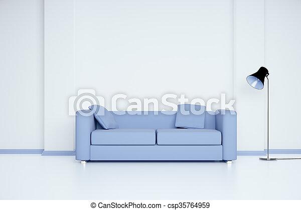 sofá azul, sala - csp35764959