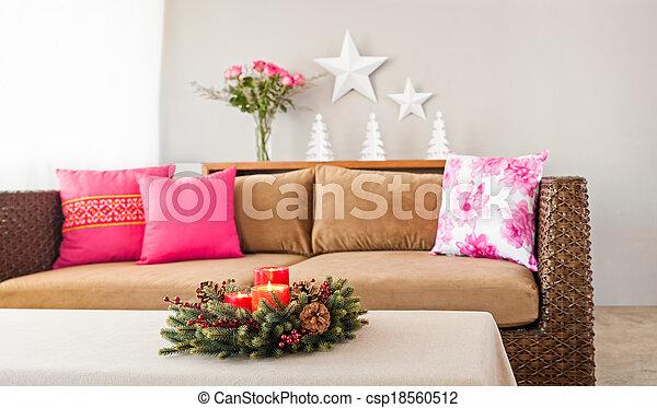 sofá beige con almohadas - csp18560512