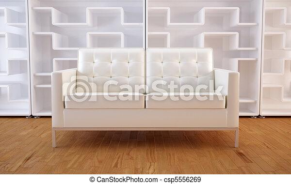 Sofa blanco y estantería - csp5556269