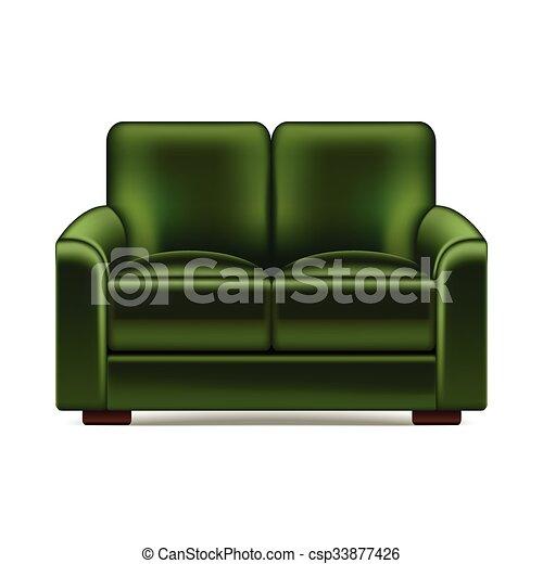 sofá verde aislado en vector blanco - csp33877426