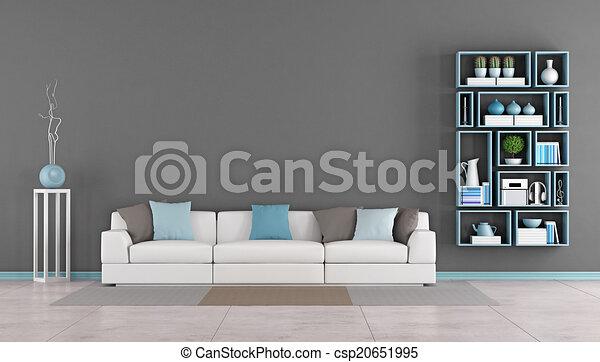 Sala de estar contemporánea con sofá - csp20651995