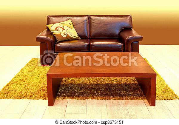 Madeira, marrom, tabela, sofá, couro, tapete.
