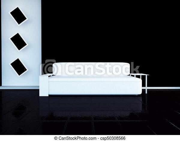 sofá moderno en la habitación, 3D - csp50308566