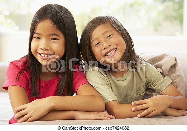 sofá, irmã, irmão, relaxante, lar - csp7424082
